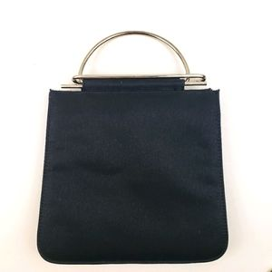 Black Structured Bag with Silvertone Top Handle